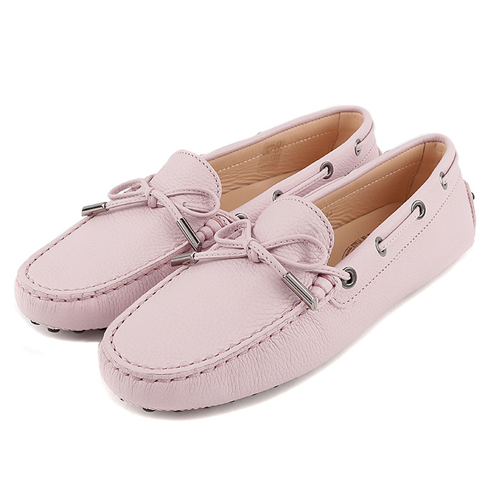 TOD'S Gommino 牛皮壓紋綁帶豆豆休閒鞋(女鞋/櫻花粉)