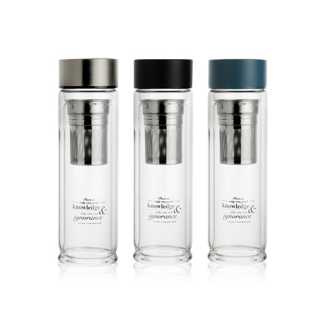 WOKY沃廚 專利蘇格拉底雙層玻璃瓶480ml(附不鏽鋼濾網)*4入
