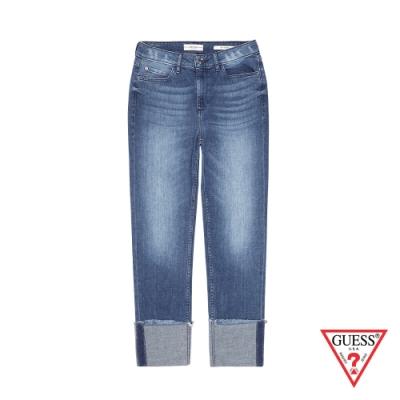 GUESS-女裝-刷白造型反折直筒牛仔褲-深藍