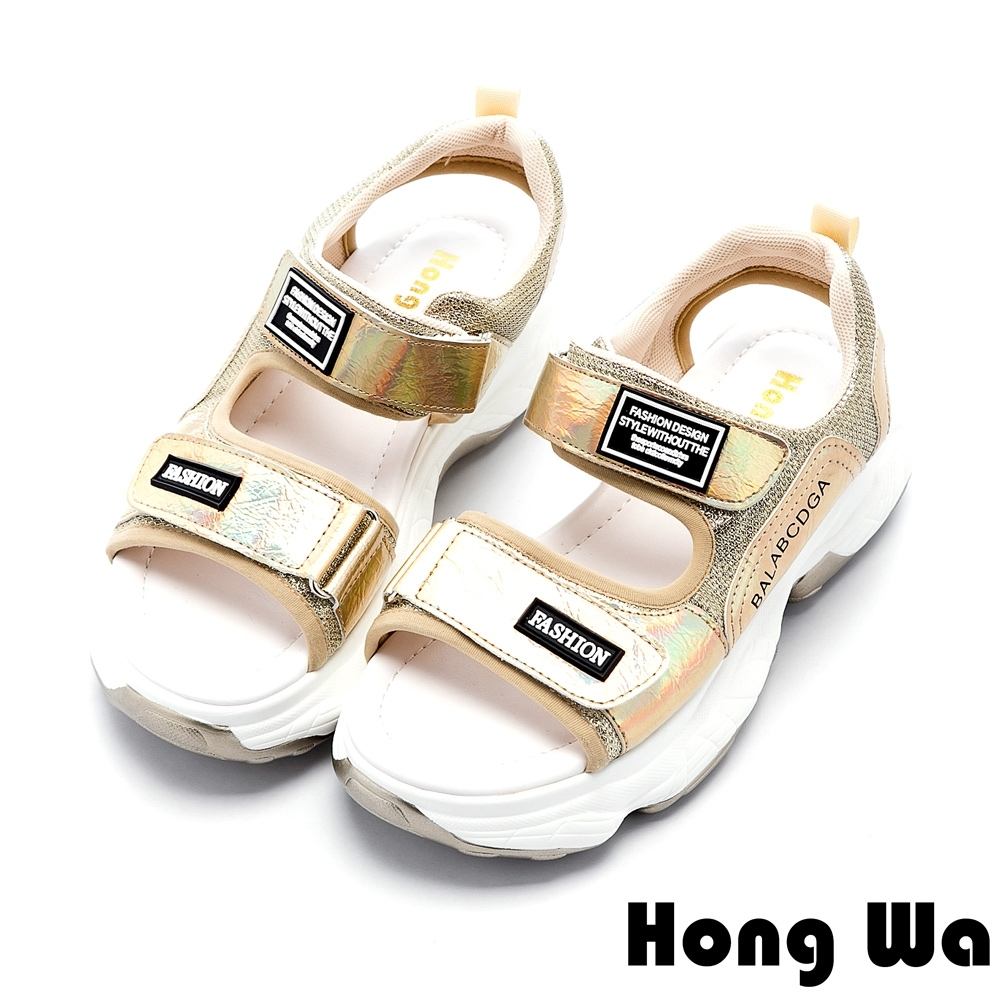 Hong Wa 時尚貼布設計牛皮厚底涼鞋 - 金