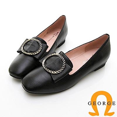 【GEORGE 喬治皮鞋】知性金屬飾扣圓頭真皮平底鞋-黑色