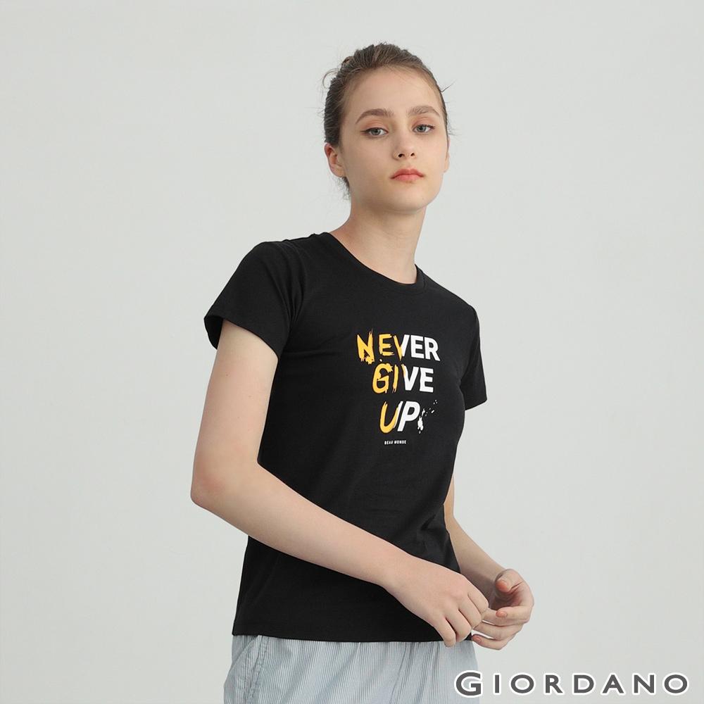 GIORDANO 女裝純棉文字印花T恤 - 08 標誌黑