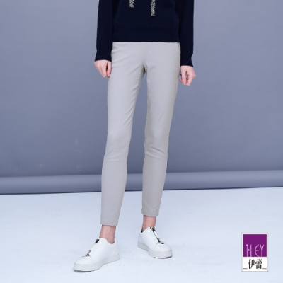 ILEY伊蕾 高彈力薄款純色窄管褲(灰)