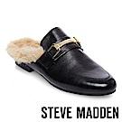 STEVE MADDEN-KHLOE 真皮亮面毛絨低跟穆勒鞋-黑色