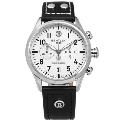 BENTLEY 賓利 德國製造 藍寶石水晶玻璃 計時碼錶 真皮手錶-銀白x黑/43mm