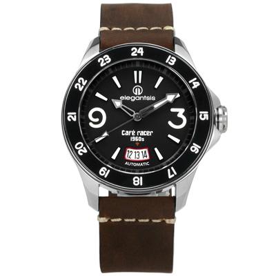 elegantsis CafeRace 新騎士風格機械錶真皮手錶-黑x咖啡/44mm