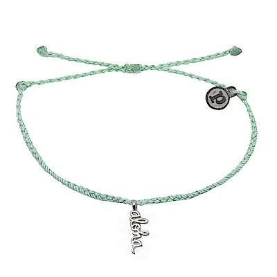 Pura Vida 美國手工 銀色ALOHA 淺綠色臘線可調式手鍊防水衝浪手繩手鍊