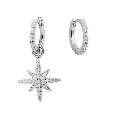 apm MONACO法國精品珠寶 閃耀銀色繁星不對稱垂墜耳環