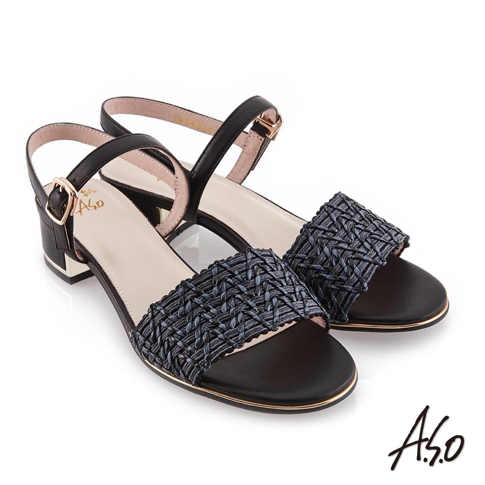 A.S.O 時尚流行 健步美型羊皮/編織布料時尚涼鞋-黑