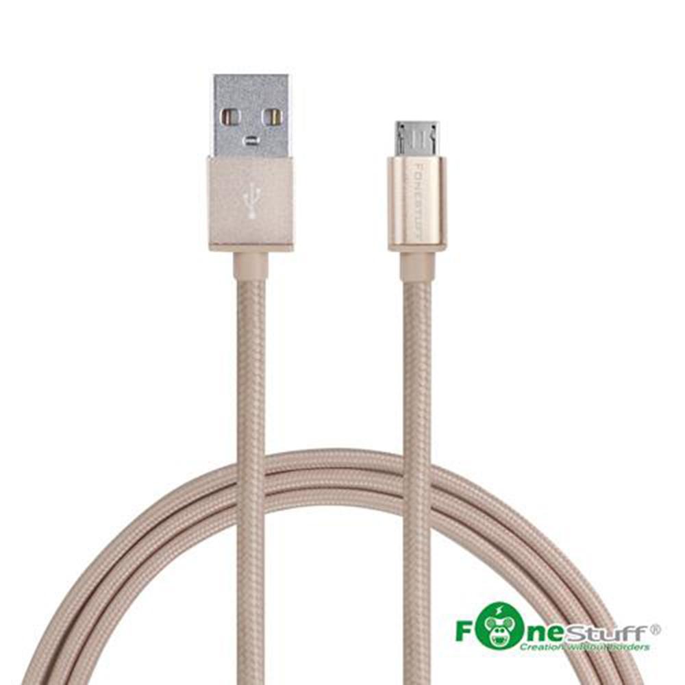 【2入】Fonestuff FSL006 Micro 編織鋁合金1M米傳輸充電線-玫瑰金