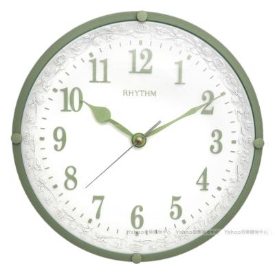 RHYTHM日本麗聲 宮廷玫瑰園優雅超靜音掛鐘(綠)/31cm