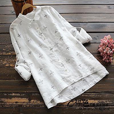 刺繡寬版襯衫-共2色(F可選)    初色 田園