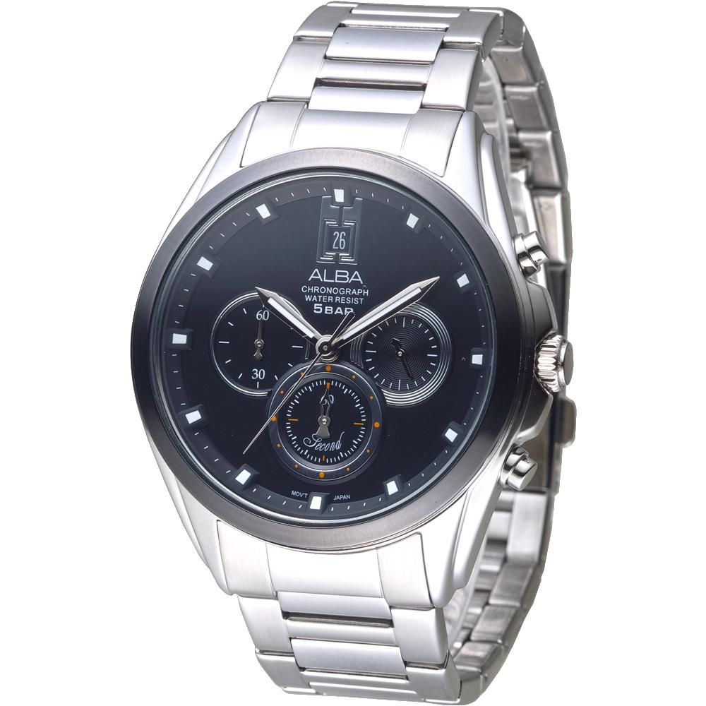 ALBA雅柏手錶 都市新紀元三眼計時男錶-IP黑錶框(AT3A95X1)/43mm 保固二年