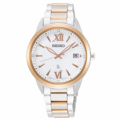 SEIKO精工 LUKIA太陽能簡約時尚手錶SUT390J1-白X半金/34mm