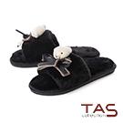 TAS小熊蝴蝶結寬繫帶絨毛室內拖鞋-百搭黑