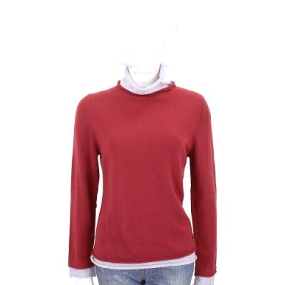 Andre Maurice 喀什米爾假兩件紅色捲邊高領羊毛衫