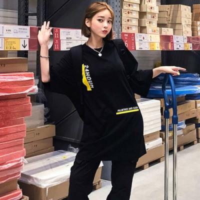 La Belleza韓版24HOUR英文字條紋配色長版T恤