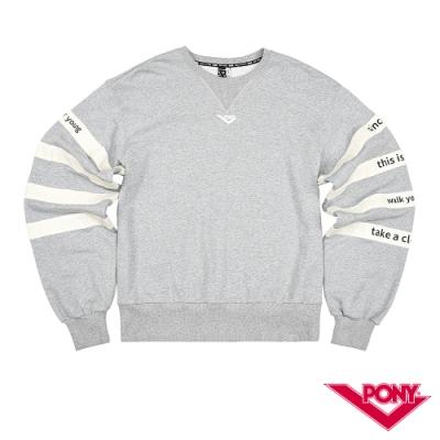 【PONY】長袖100%純棉 T恤 情侶款  男女款 麻灰