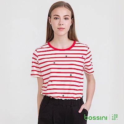 bossini女裝-圓領短袖條紋上衣27暗紅