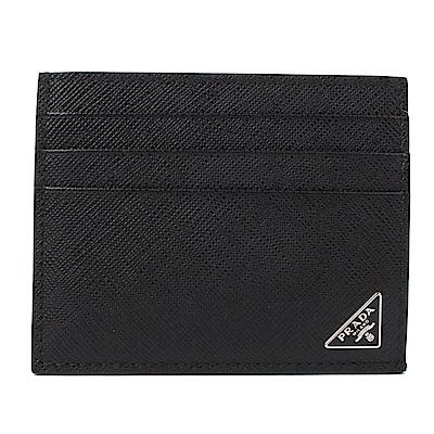 PRADA Saffiano 經典三角牌防刮牛皮萬用卡片夾(經典黑)