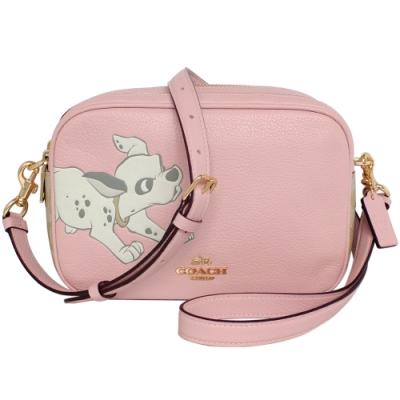 COACH x Disney粉紅真皮101忠狗雙層斜背相機包