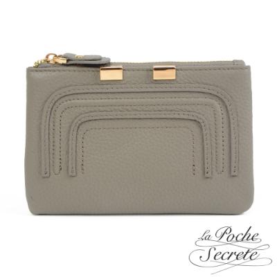 La Poche Secrete 簡約真皮實用零錢包鑰匙包-自信灰