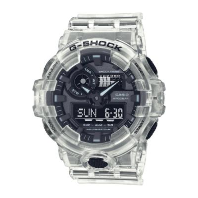 CASIO卡西歐 G-SHOCK 半透明 炫白透 大錶徑 雙顯系列 GA-700SKE-7A_53.4mm