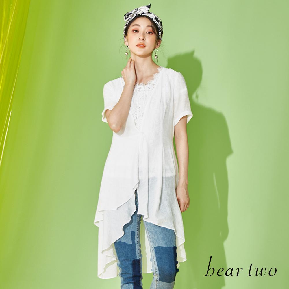beartwo 飄逸浪漫長版襯衫式罩衫(二色)