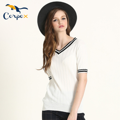 CorpoX 涼爽配色滾邊V領針織衫-白