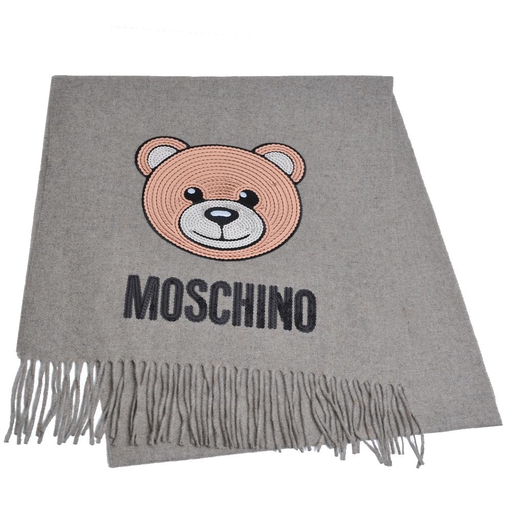 MOSCHINO 義大利製亮片小熊字母LOGO圖騰100%羊毛圍巾/披肩(麥芽色)