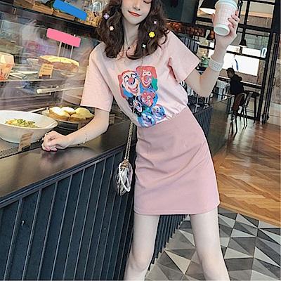 DABI 韓系卡通小丑粉嫩套裝短袖裙裝