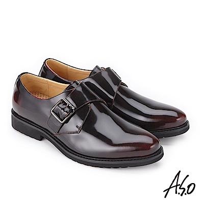 A.S.O 3D超動能 扣帶小牛皮奈米紳士鞋 酒紅