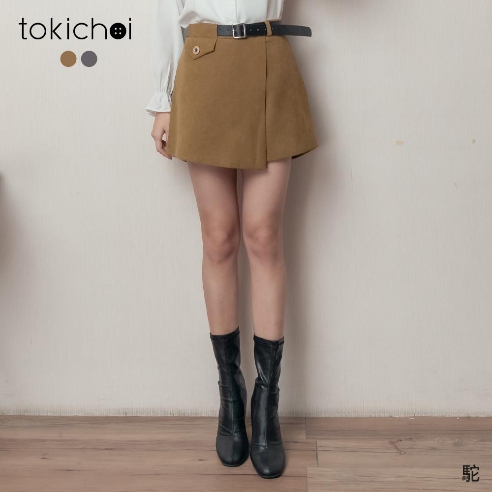 東京著衣 個性女孩質感斜片交疊附腰帶短褲-M.L(共二色)