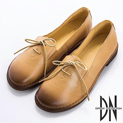 DN 英倫學院 全真皮素面鞋帶紳士鞋-卡其