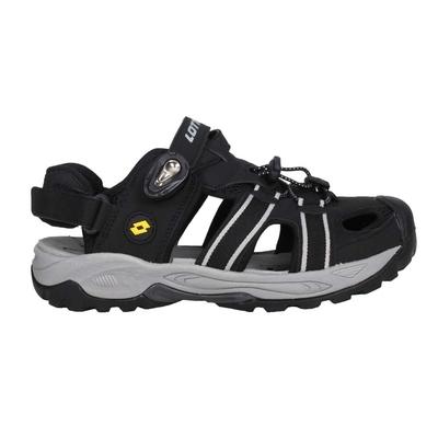 LOTTO 男排水護趾涼鞋-休閒 海邊 戲水 水陸鞋 拖鞋 魔鬼氈 LT1AMS3160 黑白黃