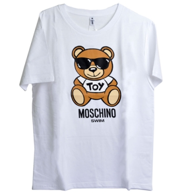 MOSCHINO 咖啡色TOY小熊 LOGO圖騰100%棉質T恤(白/M)