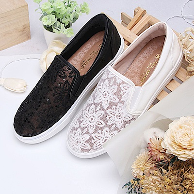 BuyGlasses 法式花紋蕾絲懶人鞋-白