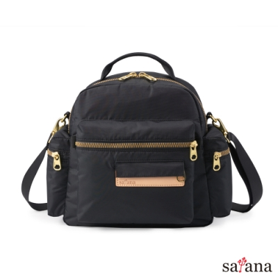 satana - 桃花朵朵後背包/斜背包 - 黑色