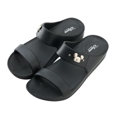 迪士尼親子鞋 米奇 銀釦大人厚底拖鞋-黑