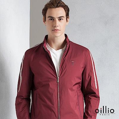 歐洲貴族 oillio 休閒薄外套 雙肩雙袖條紋 素面簡單款 紅色