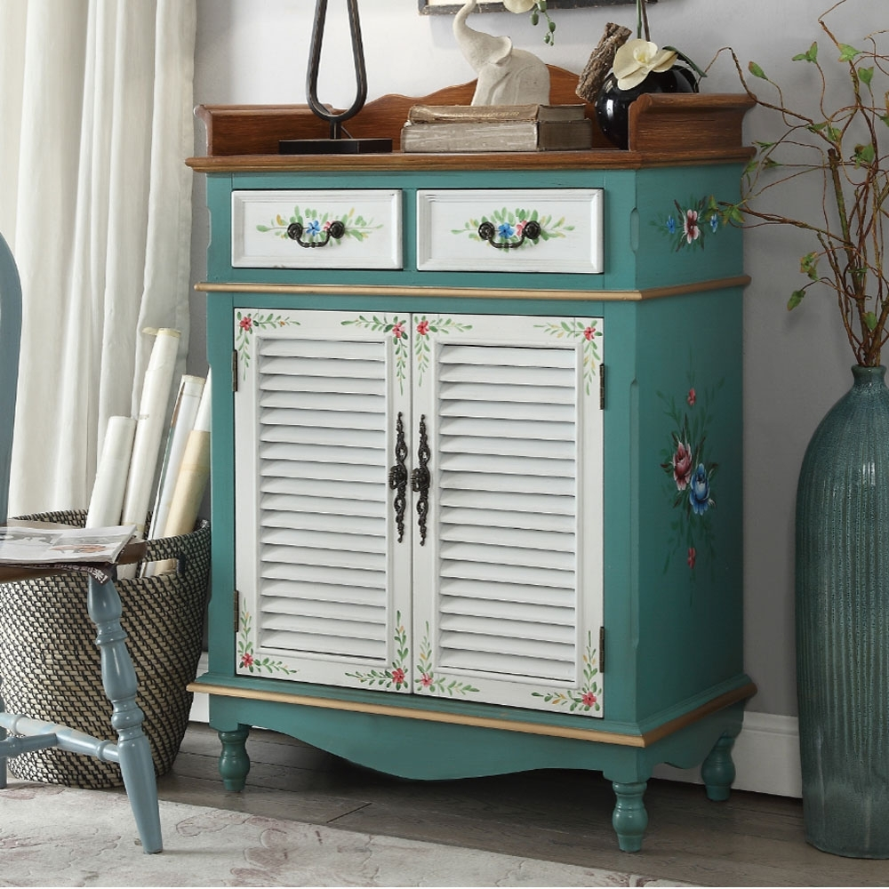 Asllie維妮手工彩繪兩抽二門鞋櫃/置物櫃/玄關櫃-綠色-80x40x114cm