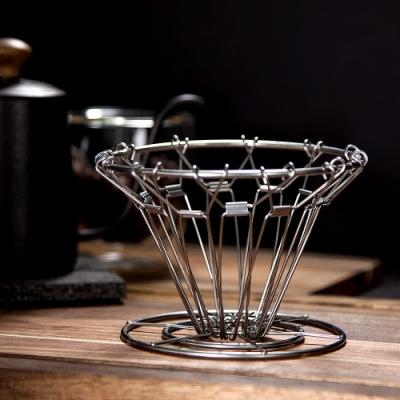 Driver 可摺疊式濾杯(錐型).便攜折疊濾杯  不鏽鋼錐形濾杯 手沖咖啡濾杯 隔熱墊