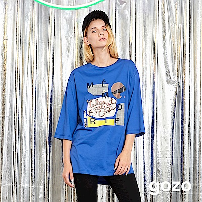 gozo 爵士之夜膠印圖案長版上衣(深藍)