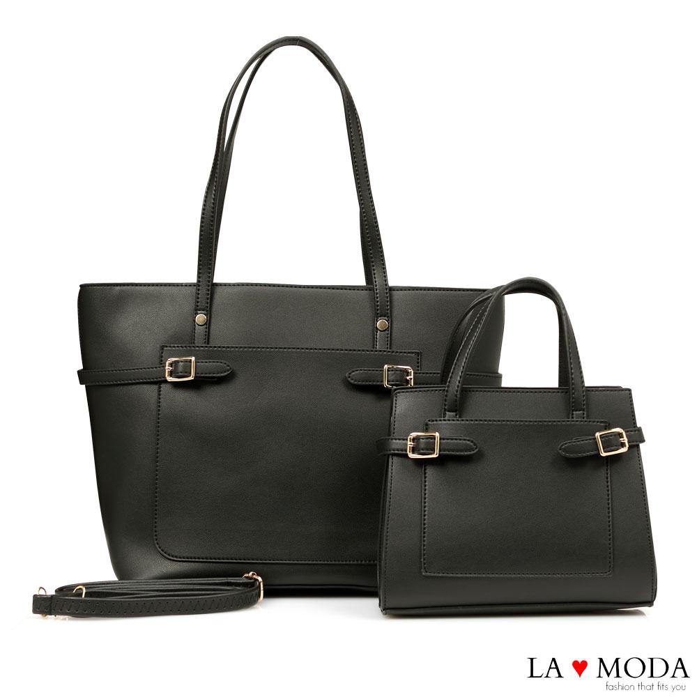 La Moda 質感滿分百搭肩背手提子母包托特包(黑)