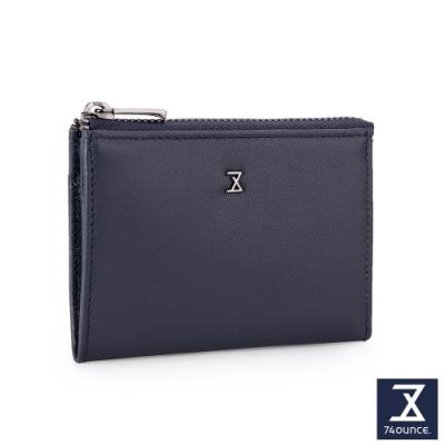 74盎司 Plain真皮拉鍊雙層零錢包[N-601-PI-M]藍