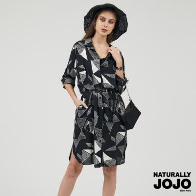 【NATURALLY JOJO】滿版幾何長衩襯衫 (黑)