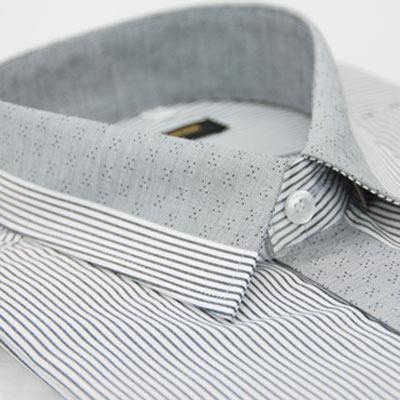 金‧安德森 灰色條紋變化領窄版短袖襯衫