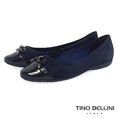 Tino Bellini巴西進口典雅舒足cap-toe平底娃娃鞋_藍