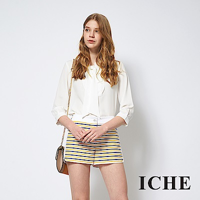 ICHE 衣哲 時尚海軍條紋印花拼接造型短褲
