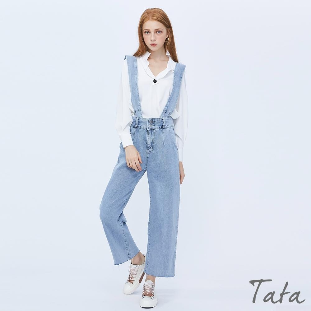 雙扣牛仔吊帶褲 TATA-(M/L)